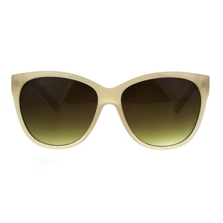 Womens Thick Plasic Oversize Cat Eye Butterfly Sunglasses Beige Brown