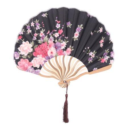 Women Bamboo Frame Floral Pattern Chinese Style Tassel Decor Folding Fan Black