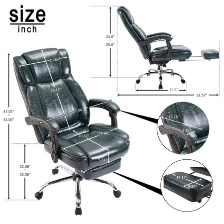 CLEARANCE! 25.6'' x 25.6''x 51'' High Back Office Chair with Wheels, SEGMART PU Leather Desk Gaming Chair, Ergonomic Adjustable Racing Chair, Swivel Computer Chair with Headrest, 250lbs, S4951