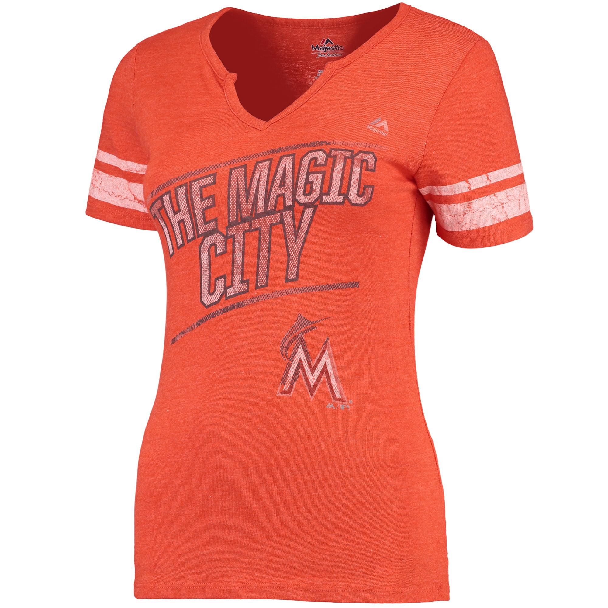 Miami Marlins Majestic Women's Success Is Earned Notch Neck T-Shirt - Orange
