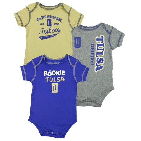 NCAA College Infants Tulsa Golden Hurricane 3 Pack Creeper Bodysuit (College Onesie)