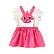 Baby Shark Baby Girls & Toddler Girls Pinafore Dress 2 Piece Outfit Set (12M-5T)