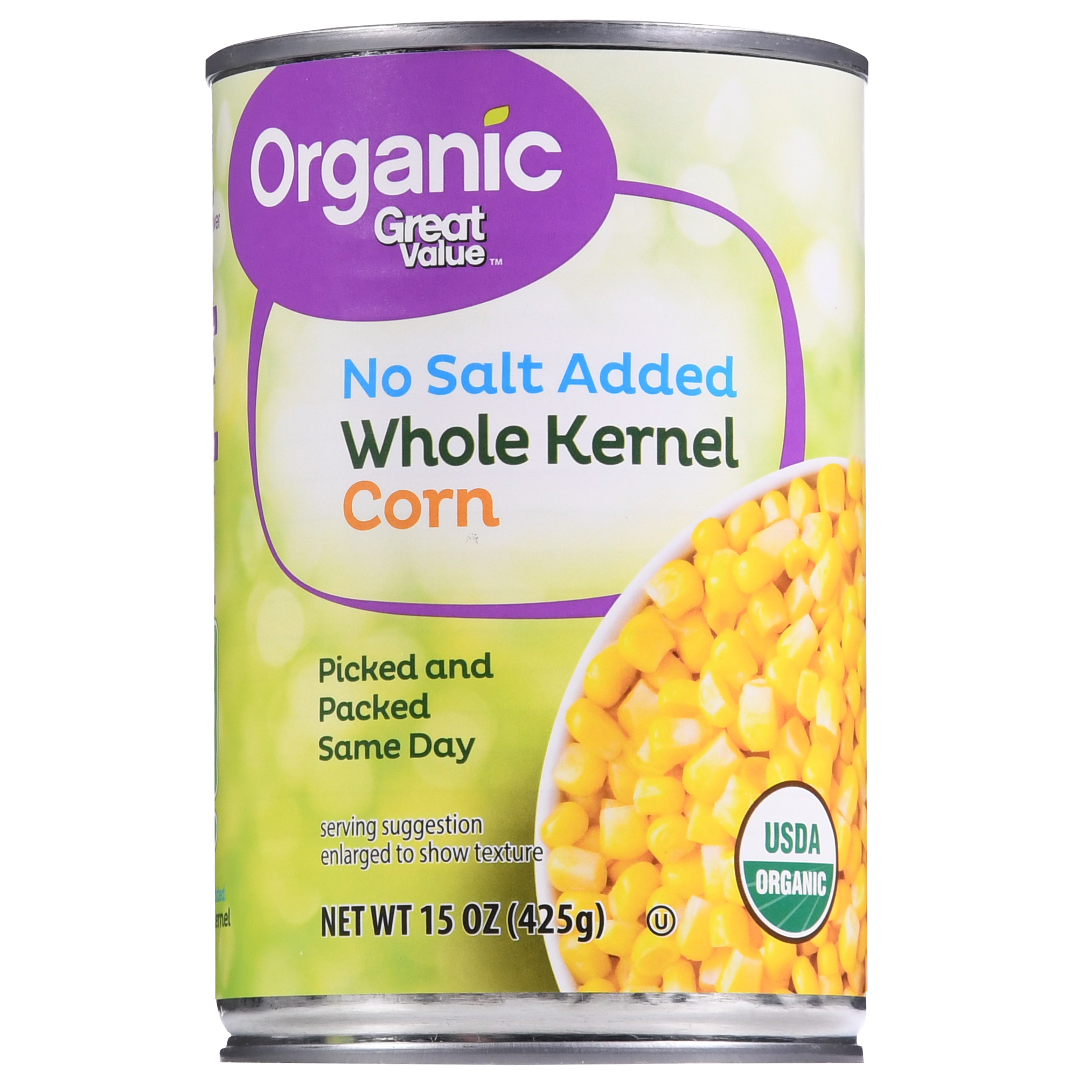 Great Value Organic Whole Kernel Corn, No Salt Added, 15.25 oz
