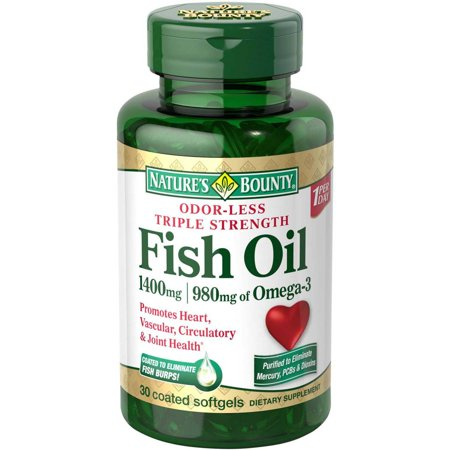 Nature's Bounty Triple Strength Odor-Less Fish Oil Dietary Supplement Coated Softgels, 1400mg, 30 Ct