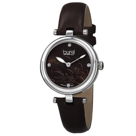 - Burgi  Women's Quartz Diamond Markers Etched Flower Dial Leather Brown Strap Watch