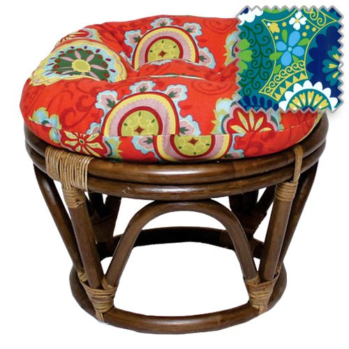 18-Inch Bali Rattan Papasan Footstool with Cushion Print Outdoor Fabric, Luxury Azure by