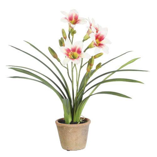 Winward Silks Day Lily Desk Top Flowering Plant in Pot