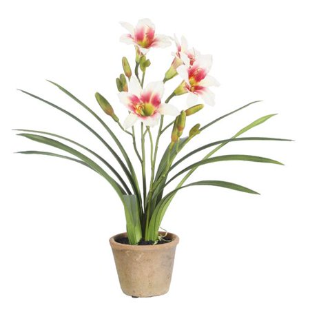 Winward Silks Day Lily Desk Top Flowering Plant in Pot