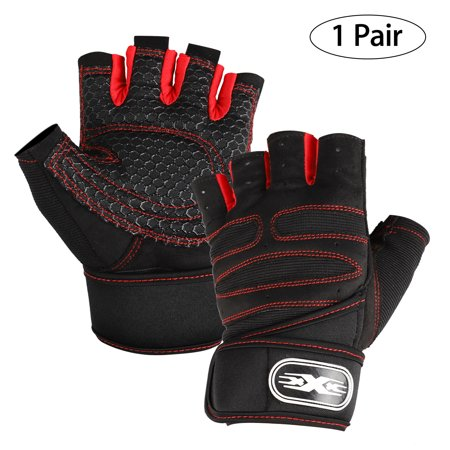 Workout Half Fnger Gloves, Weight Lifting Gloves : Men & Women Gym Glove, perfect for Weightlifting, Pull Up, Dumbbell, Cross Training, Powerlifting, Fitness Exercise, Crossfit, Rowing,