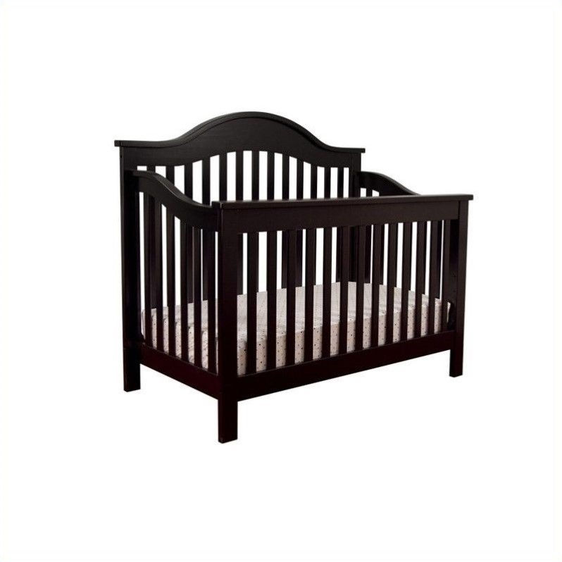 DaVinci Jayden 4-in-1 Convertible Crib in Ebony with Crib Mattress