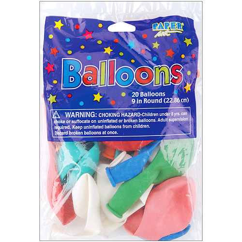 9'' Round Balloons - 20-Pack, Assorted Colors