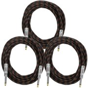 """Seismic Audio  - 3 Pack of 1/4"""" Guitar Cable - 18 Feet Cloth Woven Cord Black - SAGCSBR-18-3Pack"""