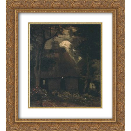 - Vincent van Gogh 2x Matted 20x22 Gold Ornate Framed Art Print 'Cottage with Trees and Peasant Woman'