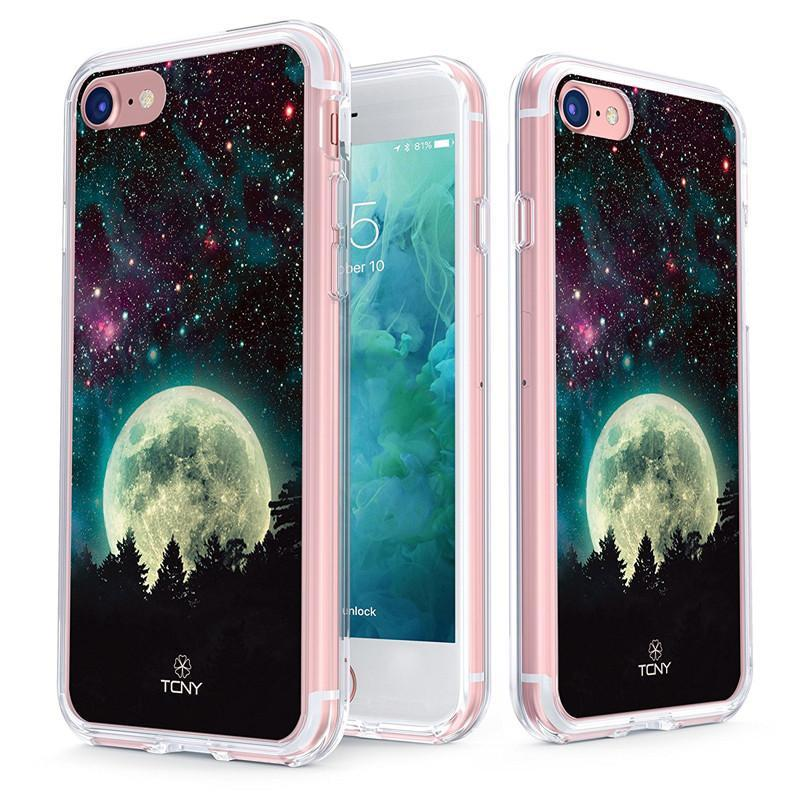 iPhone 8 Case - True Color Clear-Shield Full Moon [Galaxy Collection] Printed on Clear Back - Soft and Hard Thin Shock Absorbing Dustproof Full Protection Bumper Cover