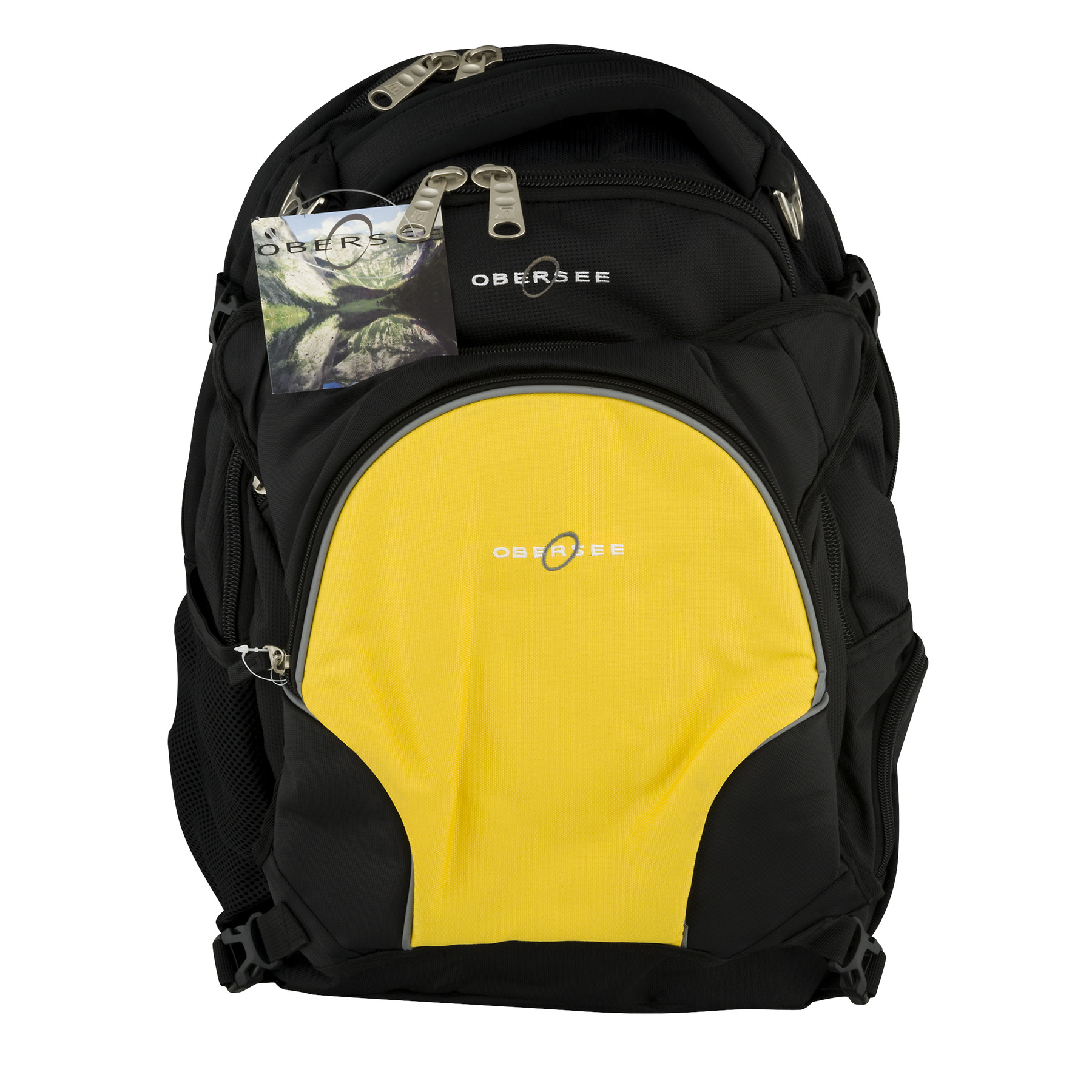 Obersee Oslo Diaper Bag Backpack and Cooler, Black/Yellow