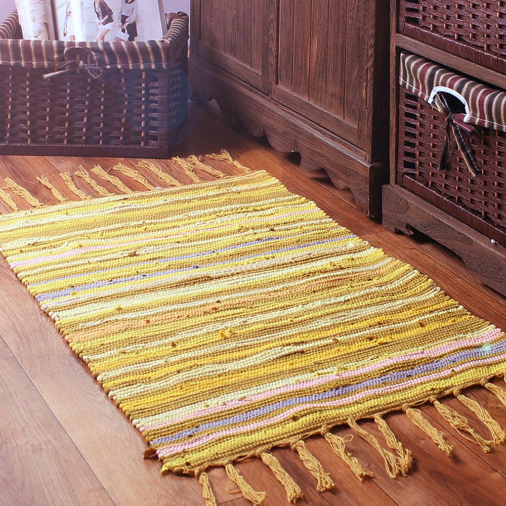 50x80cm Area Rugs Mediterranean Style Cotton Kitchen Oblong Shape Multi-Usage US