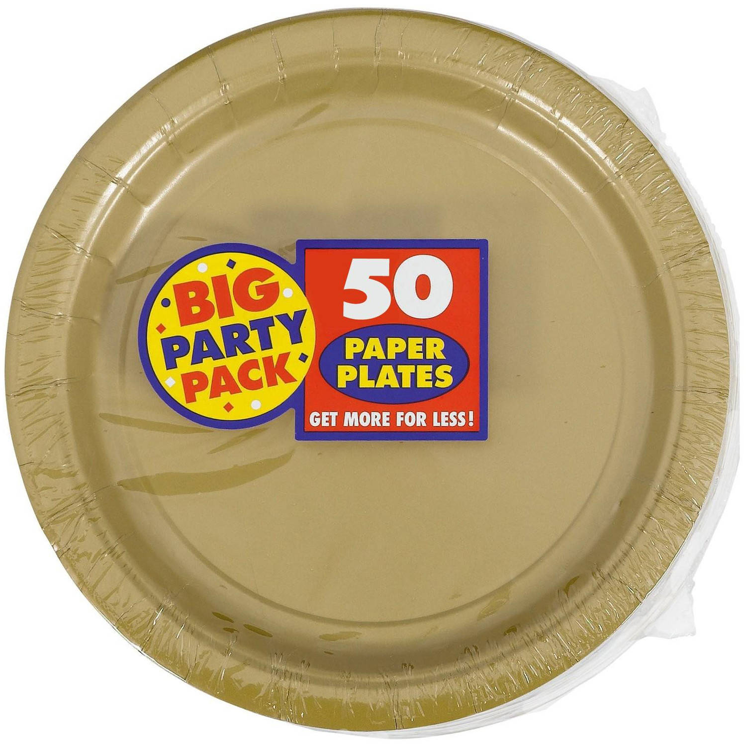 """Gold Paper 9"""" Dinner Plates - 50 Count Big Party Pack"""