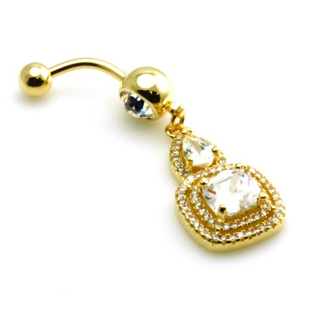 14g (1.6mm) Gold Plated Stainless Steel Tear Drop and Square CZ Dangle Belly Ring Navel Piercing Body (Gold Square Navel Ring)