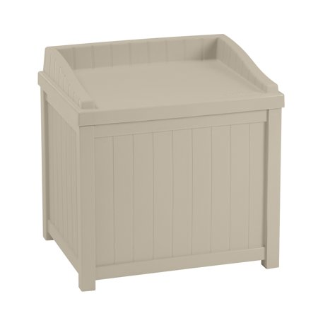 Suncast 22 Gallon Deck Box With Seat, Light Taupe, SS1000 ()
