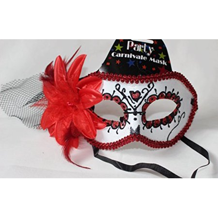 Regent Products Red and White Party Carnivale Masqureade Halloween Mask with - Carnivale Chicago Halloween