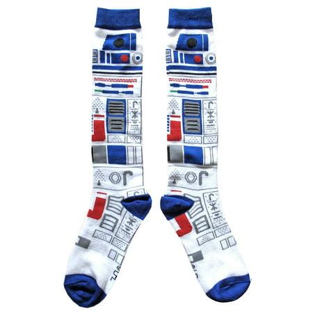 Star Wars R2 D2 Ugly Sweater Pattern Junior Womens Christmas Socks Shoe Size 4 10