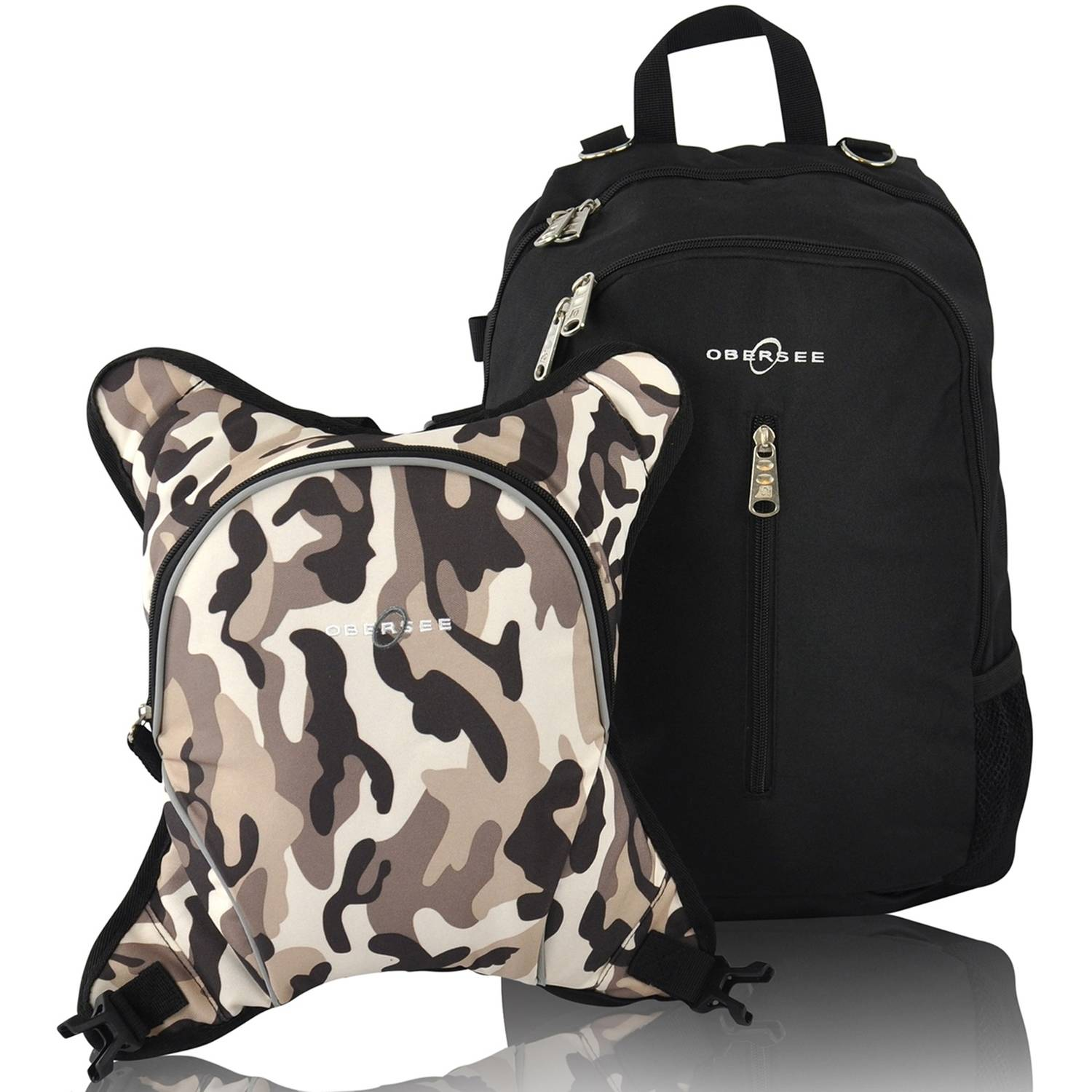 Obersee Rio Diaper Bag Backpack with Detachable Cooler, Black/Camo