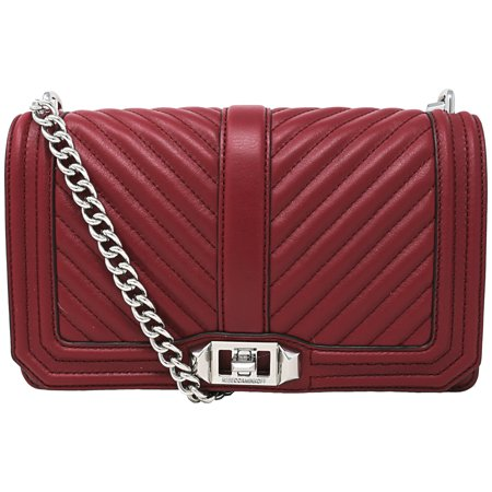 Rebecca Minkoff Women's Chevron Quilted Love Crossbody Leather Cross Body Bag - Beet - Chevron Bag