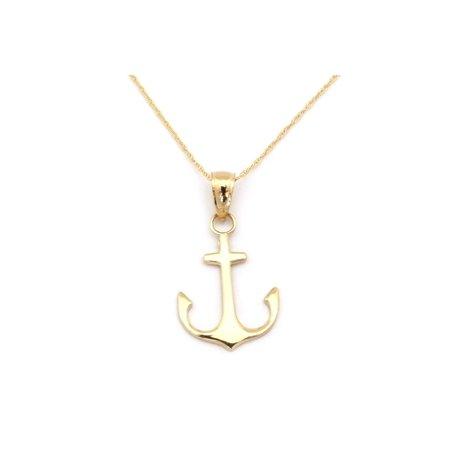 Beauniq 14k Yellow Gold Flat Polished Anchor Pendant Necklace - 13