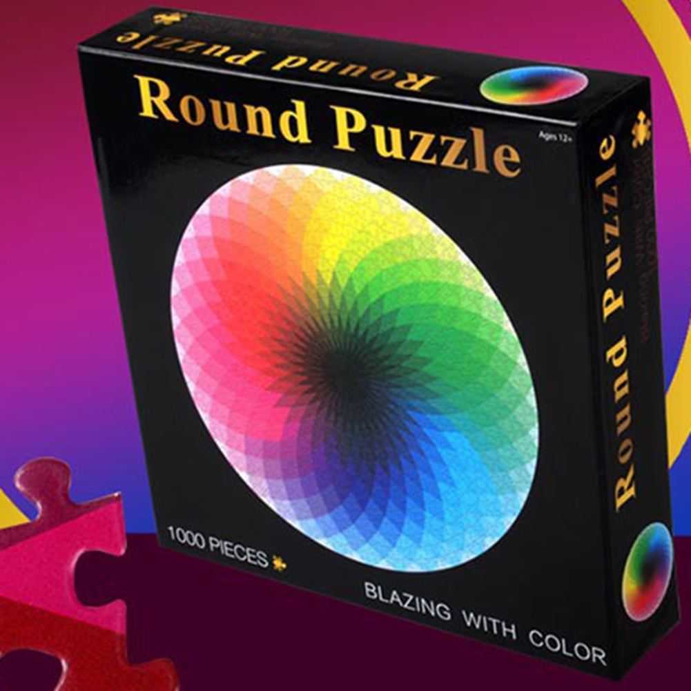 1000 Pieces Jigsaw Puzzle Colorful Rainbow Round Educational Tool Adult Toy Z4M5