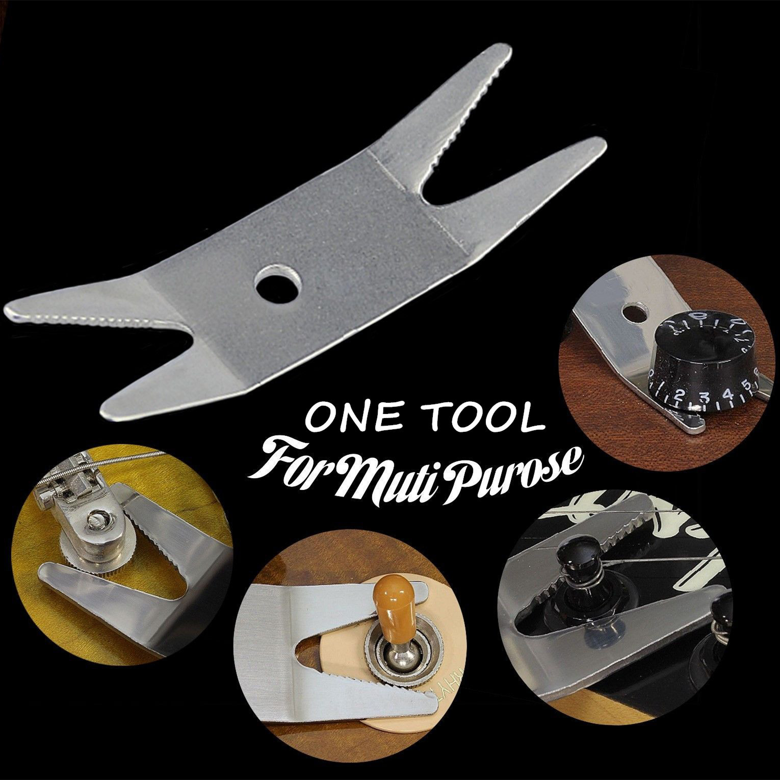 Guitar multi spanner wrench- fixes loose jacks, pots, switches, tuners