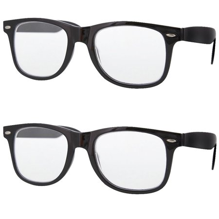 2 Pair Value Lot Reading Glasses for Both Men Women Black Frame Clear Lens, +2.00 (Cooling Glass For Mens Online)
