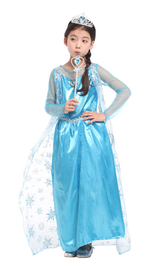 Girls' Ice Princess Ela Dress-Up Costume Set with Fairy Wand, M by