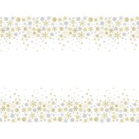 Silver and Gold Snowflakes Holiday Plastic Party Tablecloth, 84 x 54in