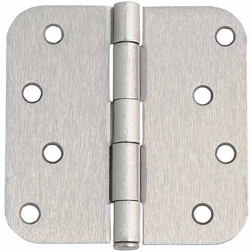 "Design House 202572 8-Hole 5/8"" Corner Radius Door Hinge, 4"" x 4"", Satin Nickel Finish"