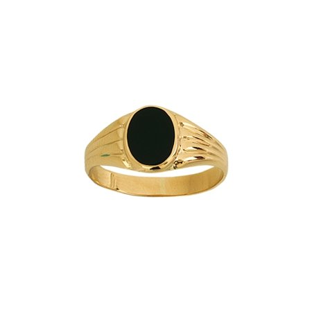14k Yellow Gold Signet Small Oval Simulated Onyx and Design Ring - Ring Size: 6 to 8 14k Gold Oval Onyx Ring