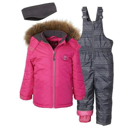 Pink Platinum Toddler Girl Faux Fur Winter Jacket Coat, Snow Pants Bib & Gaiter, 3pc Snowsuit Set Girls Faux Suede Jacket