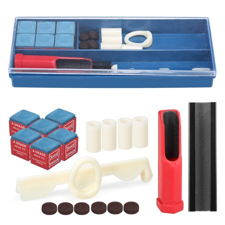 20-IN-1 Billiard Kit Cue Tool Billiard Chalk Pool Cue Tips Cue Stick Ferrules Cue Clamp Cue Trimmer Included - image 1 of 7