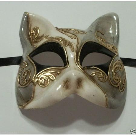 Gray Black Gold Gatto Cat Masquerade Mardi Gras Mask Italy Italian Venetian - Mardi Gras Cat Mask