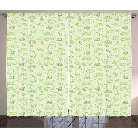 - Baby Curtains 2 Panels Set, Cartoon Doodle Drawing Style Funny Infant Toys Balls Cars Teddy Bears Crayons Pattern, Window Drapes for Living Room Bedroom, 108W X 84L Inches, Pale Green, by Ambesonne