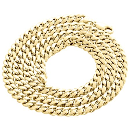 10K Yellow Gold Semi Hollow Miami Cuban 7mm Chain Link Necklace 26 (Prs Se Custom 24 Semi Hollow Review)
