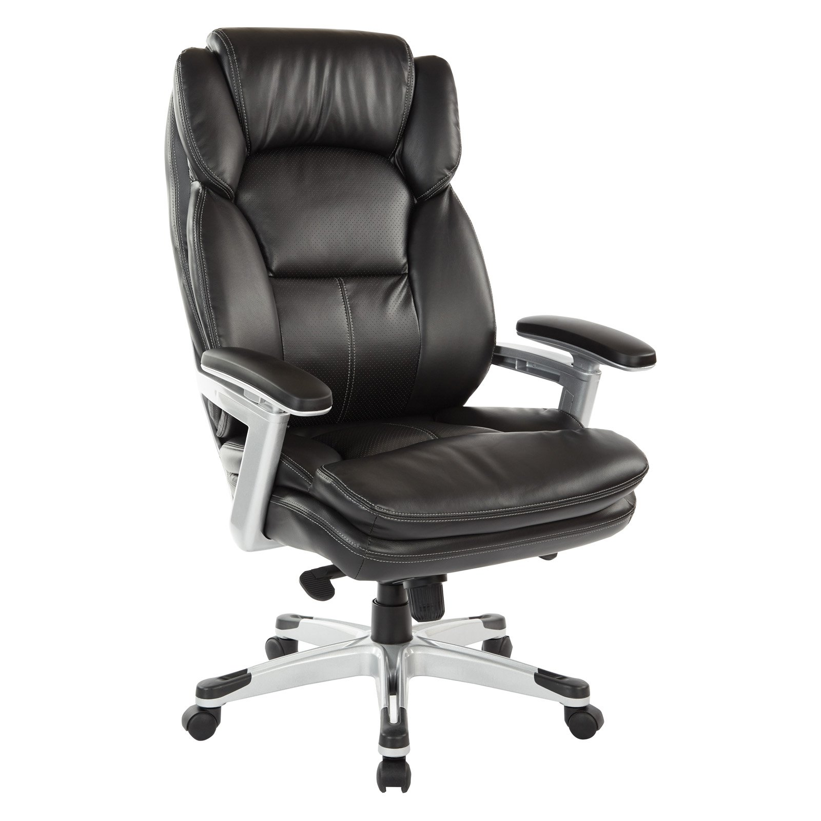 Office Star Executive Bonded Leather Chair with Faux Leather Padded Arms and Coated Base, Multiple Colors