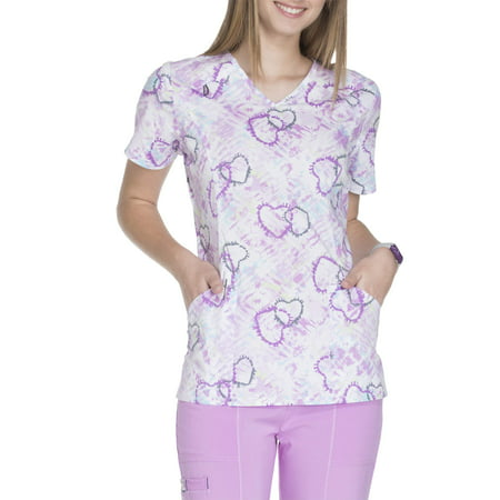 Scrubstar Women's Fashion Collection Printed V-Neck Scrub Top (Cartoon Scrub Tops)
