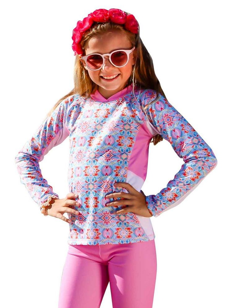 Sun Emporium Little Girls Milkshake Pink Long Sleeve Rash Guard