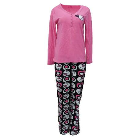 cc836ae74 Hello Kitty - Womens Hello Kitty Pajamas Fleece Sleep Set Lounge Pants PJs  Bottoms & Shirt - Walmart.com