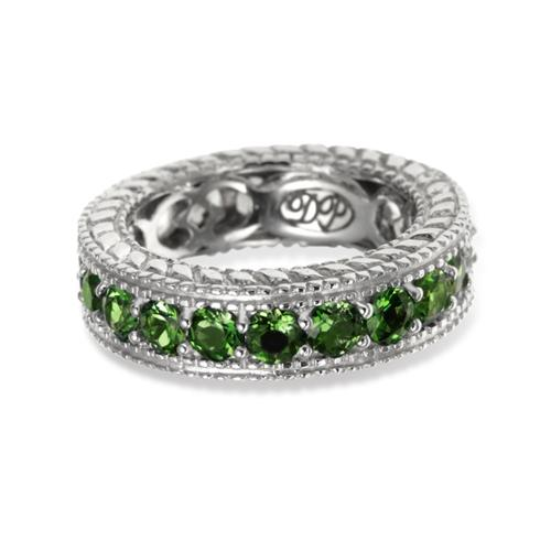 Bonhuer West Holding Sterling Silver 2.94ct Chrome Diopside and White Zircon Reversible Eternity Band Ring