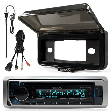 (Kenwood KMRD375BT In-Dash Marine Boat Audio Bluetooth CD Player Receiver With Black Waterproof Protective Cover Bundle Combo With Enrock USB/AUX To RCA Interface Mount Cable + 45