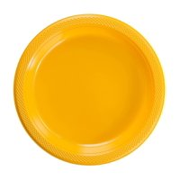 "Exquisite 9"" Disposable Plastic Plates Bulk - 100 Count Party Pack - Premium Plastic Disposable Lunch & Dinner Plates, Clear"