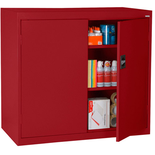 """Elite Series Counter Height Storage Cabinet with Adjustable Shelves, 46""""W x 24""""D x 42""""H, Red"""
