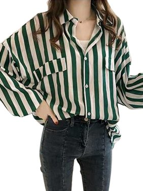 a72ada4d74a2bc Product Image OUMY Women Stripes Button Down Tops Blouse OL Office Shirts