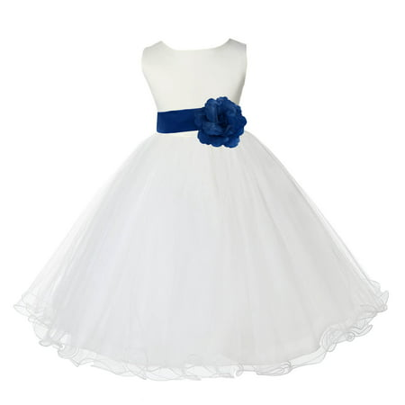 Ekidsbridal Satin Ivory Royal Blue Tulle Rattail Edge Christmas Bridesmaid Recital Easter Holiday Wedding Pageant Communion Princess Birthday Girls Clothing Baptism 829S size 8 Flower Girl Dress
